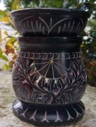 Speckstein Aromalampe/Räucherstöv-chen, schwarz, Pflanzenranke/Elefant, 2-/3-tlg.